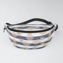 Nautical modern navy blue white stripes blush beige pineapple Fanny Pack