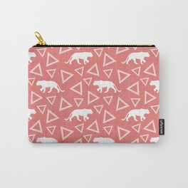 Wild African walking white lioness silhouettes and abstract triangle shapes. Stylish whimsical ethnic coral salmon red color retro vintage geometric animal nature pattern. Carry-All Pouch