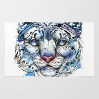 snow leopard Area & Throw Rugs featuring Icy Snow Leopard by Abby Diamond