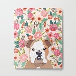Bulldog Florals Print - bulldog print, bulldogs, cute bulldog, english bulldog, bulldog gift, bulldo Metal Print
