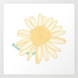 Marguerite Daisy Flower Illustration Art Print