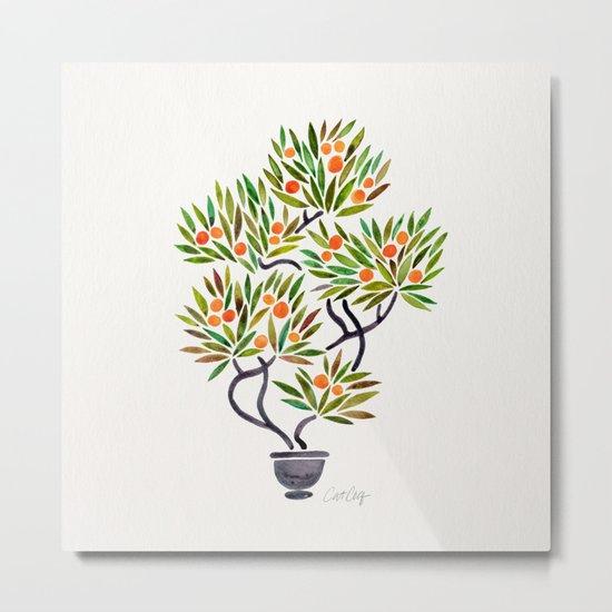 Bonsai Tree – Orange Fruit Metal Print