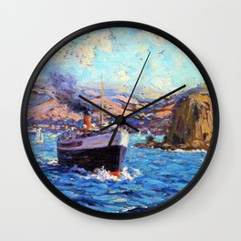 Steamer leaving Avalon, Catalina Island - Digital Remastered Edition Wall Clock