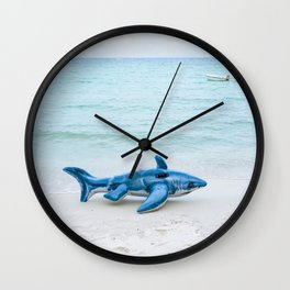 inflatable shark fish on beach Wall Clock