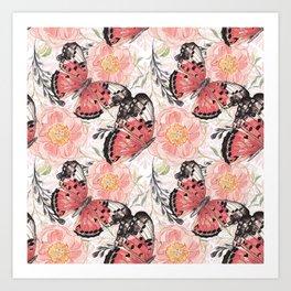 Flowers & butterflies #3 Art Print