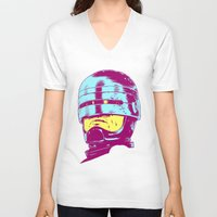 robocop V-neck T-shirts featuring Robocop (neon) by Liam Brazier