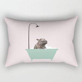 Hippo Enjoying Bubble Bath Rectangular Pillow
