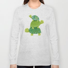 Turtle Stack Family in Teal and Lime Green Long Sleeve T-shirt