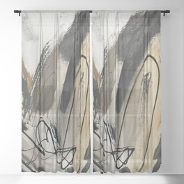 Drift [5]: a neutral abstract mixed media piece in black, white, gray, brown Sheer Curtain