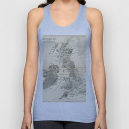 Vintage and Retro Geological Map British Isles Unisex Tank Top