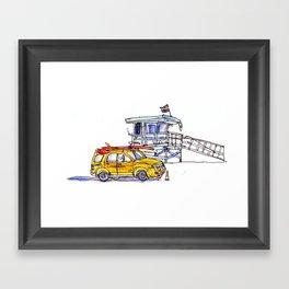 Yellow Lifeguard Truck Framed Art Print