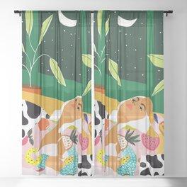 Moon Lover #illustration #feminism Sheer Curtain