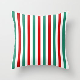Peppermint Stripes Red Green and White | Medium Vertical Stripes Throw Pillow