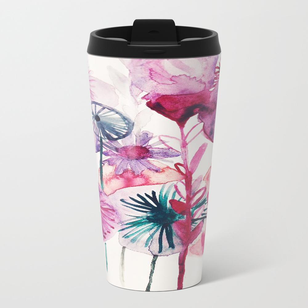 Vibrant Abstract Pink Flower Watercolor Design Ii Travel Mug TRM8013083