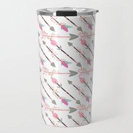 Bohemian pastel pink gray floral arrows pattern Travel Mug