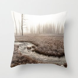 Yellowstone National Park- Foggy morning at Tangled Creek Throw Pillow