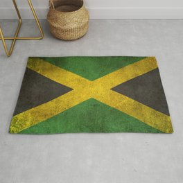 Old and Worn Distressed Vintage Flag of Jamaica Rug