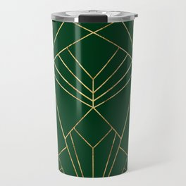 Art Deco in Gold & Green - Large Scale Travel Mug