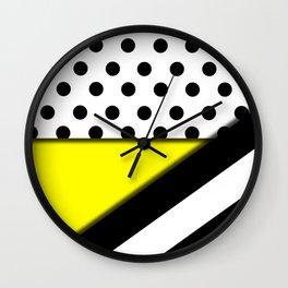 Black & White Polka Dots & Stripes With Yellow Wall Clock