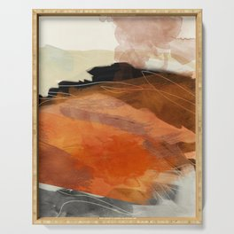 landscape in fall abstract art Serving Tray