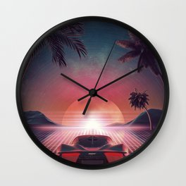 Outrun Classic Sunset Ride Wall Clock