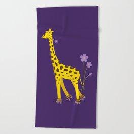 Funny Giraffe Roller Skating Beach Towel
