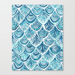 NAVY LIKE A MERMAID Fish Scales Watercolor Canvas Print