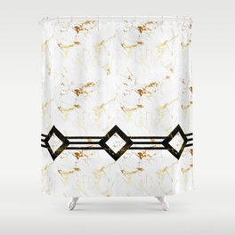 Abstract square golden marble pattern Shower Curtain