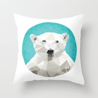 triangles Throw Pillows featuring ♥ SAVE THE POLAR BEARS ♥ by ℳixed ℱeelings