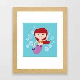 Little Redhead Mermaid Framed Art Print