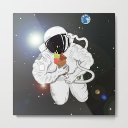 Astronaut with ice cream cone Metal Print