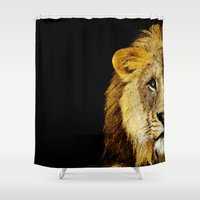 nfl Shower Curtains featuring Lion Art - Face Off by Sharon Cummings