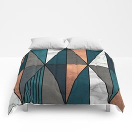 Copper, Marble and Concrete Triangles with Blue Comforters