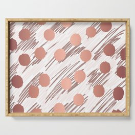 Scratch and Dot abstract minimalist copper metallic art and patterned decor Serving Tray