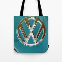 vw bus Tote Bags featuring Turquoise Beauty VW Bus by wildVWflower