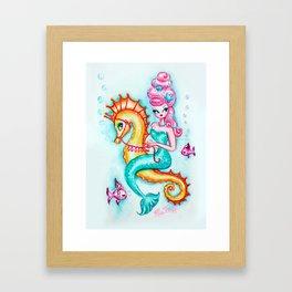 Pink Bouffant Mermaid Riding a Seahorse Framed Art Print