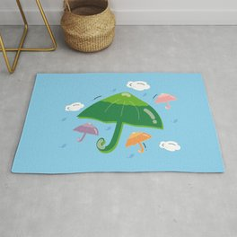 CheerfulRain 2 - Umbrellas Close-Up Rug