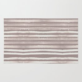 Simply Shibori Stripes Lunar Gray and Red Earth Rug