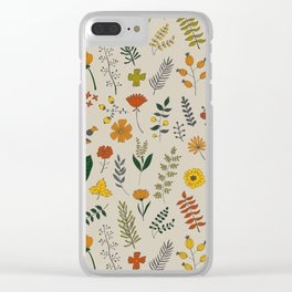 Colorful Plants and Herbs Pattern Clear iPhone Case