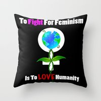 feminism Throw Pillows featuring Global feminism by MoonAries