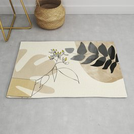 leaves minimal shapes abstract Rug