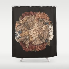Flowers and Moths Shower Curtain