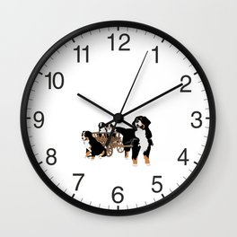 Family of Bernese Mountain Dogs with Wooden Wagon Wall Clock
