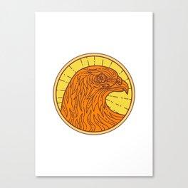 Hawk Eye Side Circle Mono Line Canvas Print