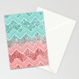 Summer Vibes Glitter Chevron #1 #coral #mint #shiny #decor #art #society6 Stationery Cards