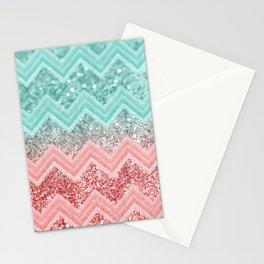 Summer Vibes Glitter Chevron #1 #coral #mint #shiny #decor #art #society6 Stationery Cards
