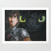 hiccup Art Prints featuring Hiccup and Toothless by Meliese Reid