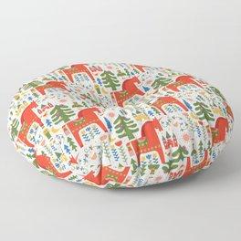 Scandinavian Folkstory - Red + Green Floor Pillow