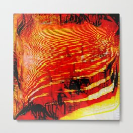 Deep Pixel Fire Metal Print