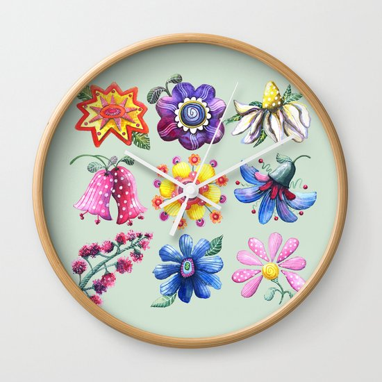 Pretty Flowers All in a Row Green Wall Clock
